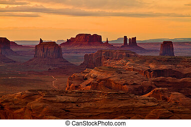 après, coucher soleil, monuments