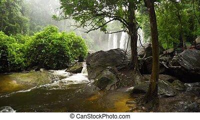 après, eau, cambodge, galets, chute eau, son, plongeon, autour de, tourbillons