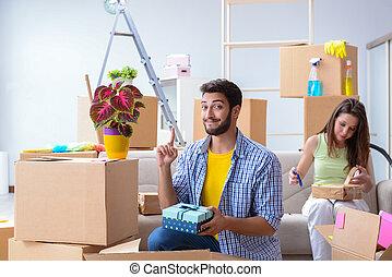 après, relocalisation, préparer, noël famille
