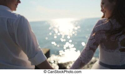 après, romantique coupler, palefrenier, exotique, mariée, mariés, mariage, récemment, plage