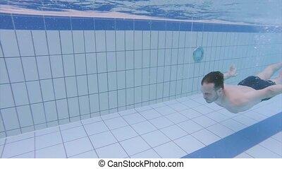 aquapark, piscine, homme