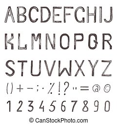 aquarelle, alphabet, main, symboles, nombres, font., dessiné