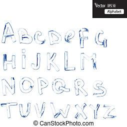 aquarelle, alphabet, manuscrit, calligraphic