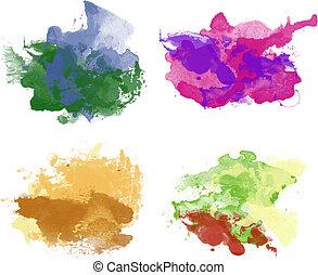 aquarelle, arrière-plans, coloré