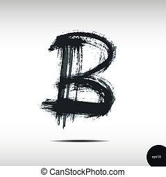 aquarelle, b, lettre, calligraphic