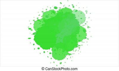 aquarelle, blanc, terre verte, cadre, fond, jour