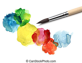 aquarelle, bstract, cercle, peinture, brosse
