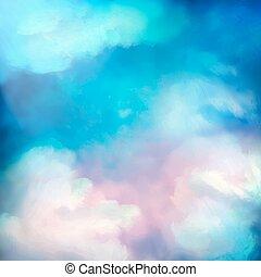 aquarelle, ciel, vecteur, peinture, fond