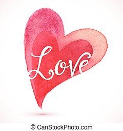 aquarelle, coeur, amour, rouges, signe
