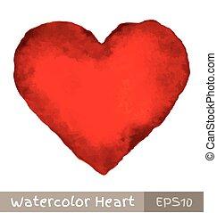 aquarelle, coeur, rouges