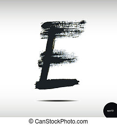 aquarelle, e, lettre, calligraphic