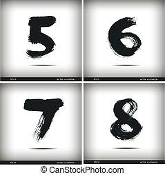 aquarelle, ensemble, nombres, calligraphic