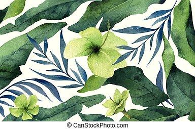 aquarelle, feuilles, isolé, exotique, arrière-plan., vecteur, fleurs blanches, bannière