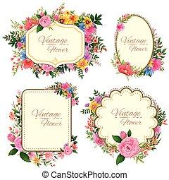 aquarelle, floral, cadre, vendange