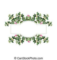 aquarelle, guirlande, snowberry, banner., noël, fond, floral, blanc, peint, main, vecteur, isolé