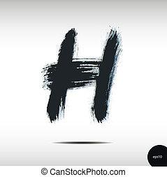 aquarelle, h, lettre, calligraphic