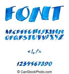 aquarelle, manuscrit, alphabet, symbols., nombres