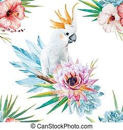 aquarelle, modèle, fleurs, perroquet
