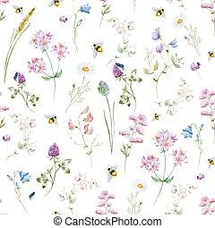 aquarelle, modèle, wildflower