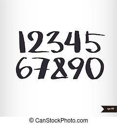 aquarelle, nombres, calligraphic