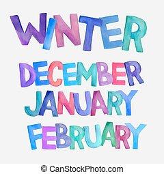 aquarelle, saison, vecteur, hiver, noms