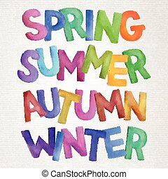 aquarelle, saisons, vecteur, lettering.