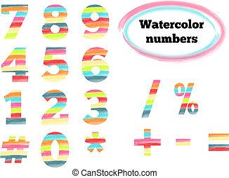 aquarelle, symboles, nombres, appelé