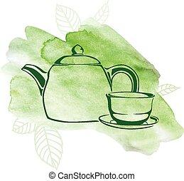 aquarelle, thé, arrière-plan vert