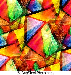 aquarelle, triangle, couleur, modèle, résumé, seamless, texture, eau, peinture, jaune, conception, papier, fond, vert, art, rouges