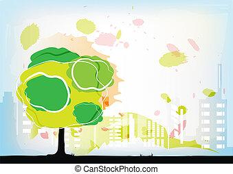 aquarelle, ville, derrière, arbre