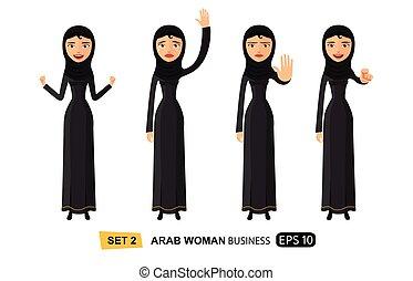 arabe, affaires femme, projection, arrêt, émotions, main, onduler, vecteur, illustration, revoir, sérieux, business-lady, geste