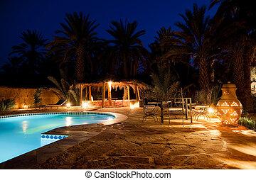 arabe, hôtel, soir, piscine