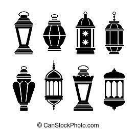arabe, lanternes, ramadan