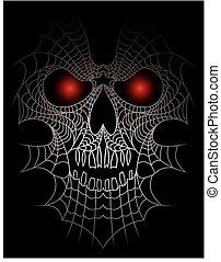 araignés, crâne humain, filet