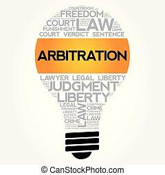 arbitrage, ampoule, collage, mot, nuage