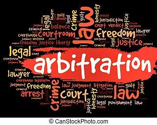 arbitrage, collage, mot, nuage