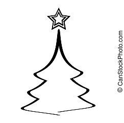 arbre, étoile, noël, icône