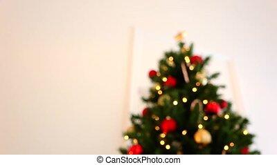 arbre, étoile, noël, or