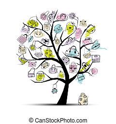 arbre, achats, ton, sacs, conception