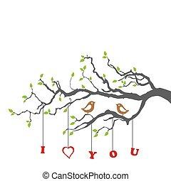 arbre, aimer oiseaux, branche