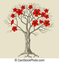 arbre, aimer oiseaux, fleur