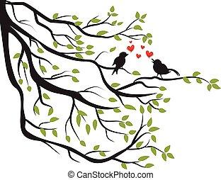 arbre, amour, branche, oiseaux