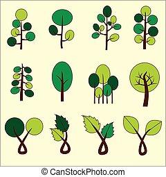 arbre., art, agrafe, résumé, vecteur, vert, graphic.
