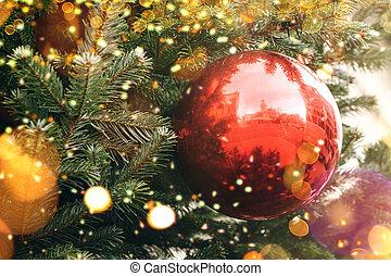 arbre., balle, decorations., rouges, noël