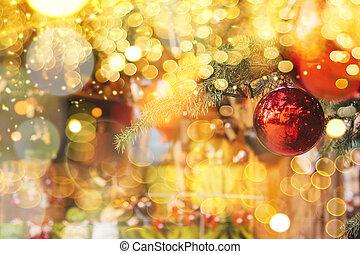 arbre., balles, decorations., rouges, noël