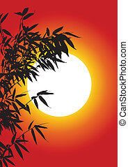 arbre, bambou, silhouette