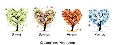 arbre, beau, -, printemps, été, quatre saisons, ton, conception, art, automne, winter.