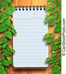 arbre., bois, fixation, concept., cahier, planification, fond, vide, conservation, lierre