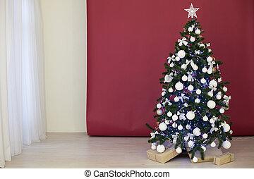 arbre, bourgogne, présente, fond, noël, rouges