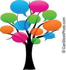 arbre, bulles, vecteur, parole